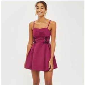 TOPSHOP Maroon Fit and Flare Front Tie Dress 6